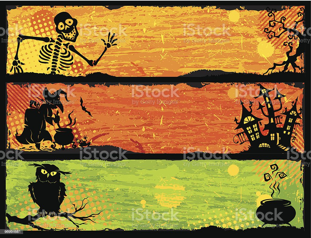 Funny Halloween banners royalty-free stock vector art