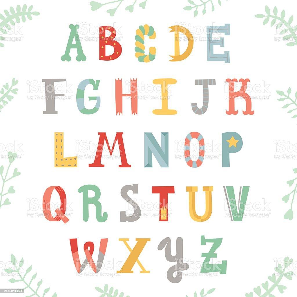 Funny handwritten multicolored alphabet. Lettering with plants. vector art illustration