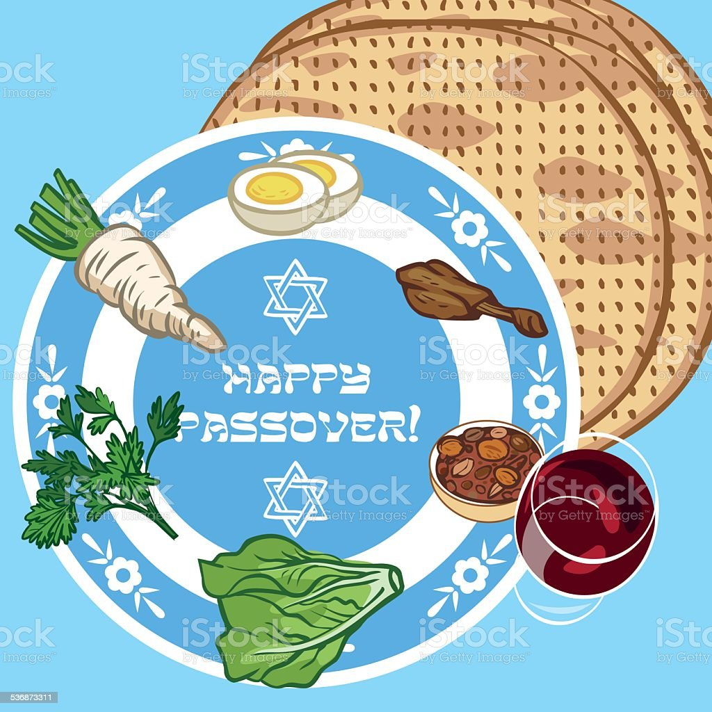 Funny Happy Jewish Passover greeting card. Vector illustration vector art illustration