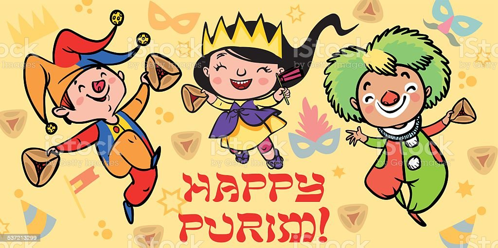 Funny Happy Purim greeting card. Vector illustration vector art illustration