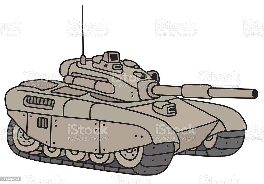 Funny heavy tank vector art illustration