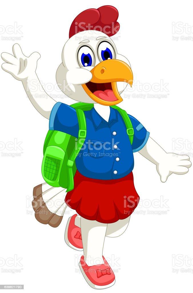 funny hen cartoon going to school vector art illustration