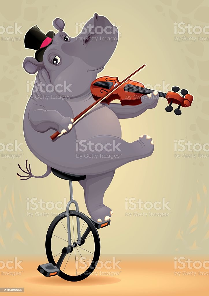 Funny hippo on an unicycle vector art illustration
