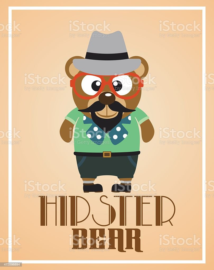 Funny hipster bear vector art illustration