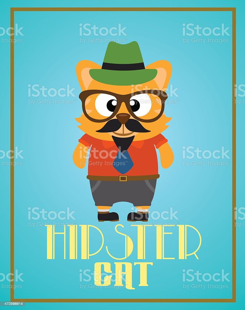 Funny hipster cat vector art illustration