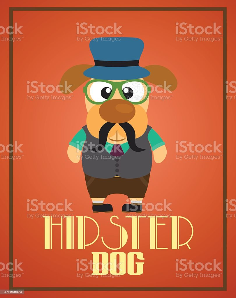 Funny hipster dog vector art illustration