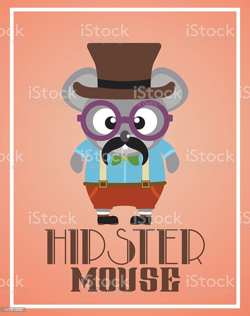 Funny hipster mouse vector art illustration