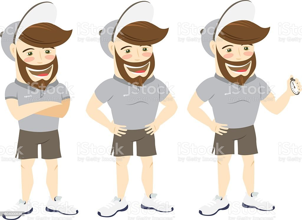 Funny hipster personal trainer. Strong and smiling man wearing beard vector art illustration