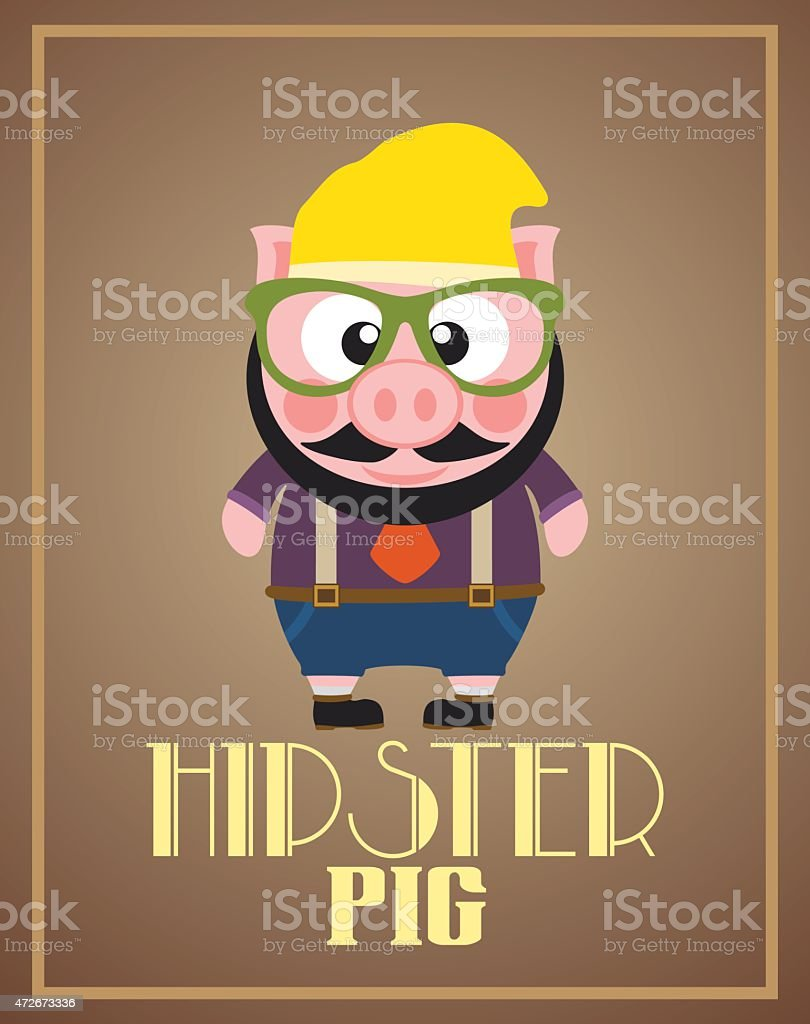 Funny hipster pig vector art illustration