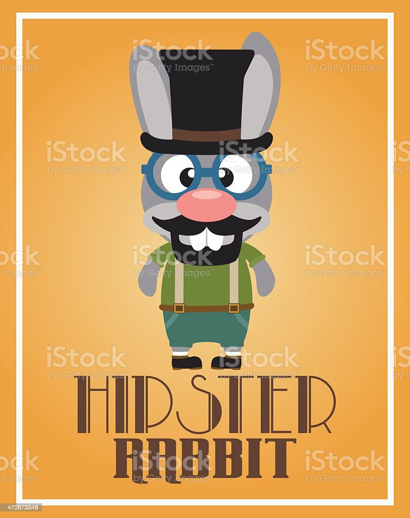 Funny hipster rabbit vector art illustration