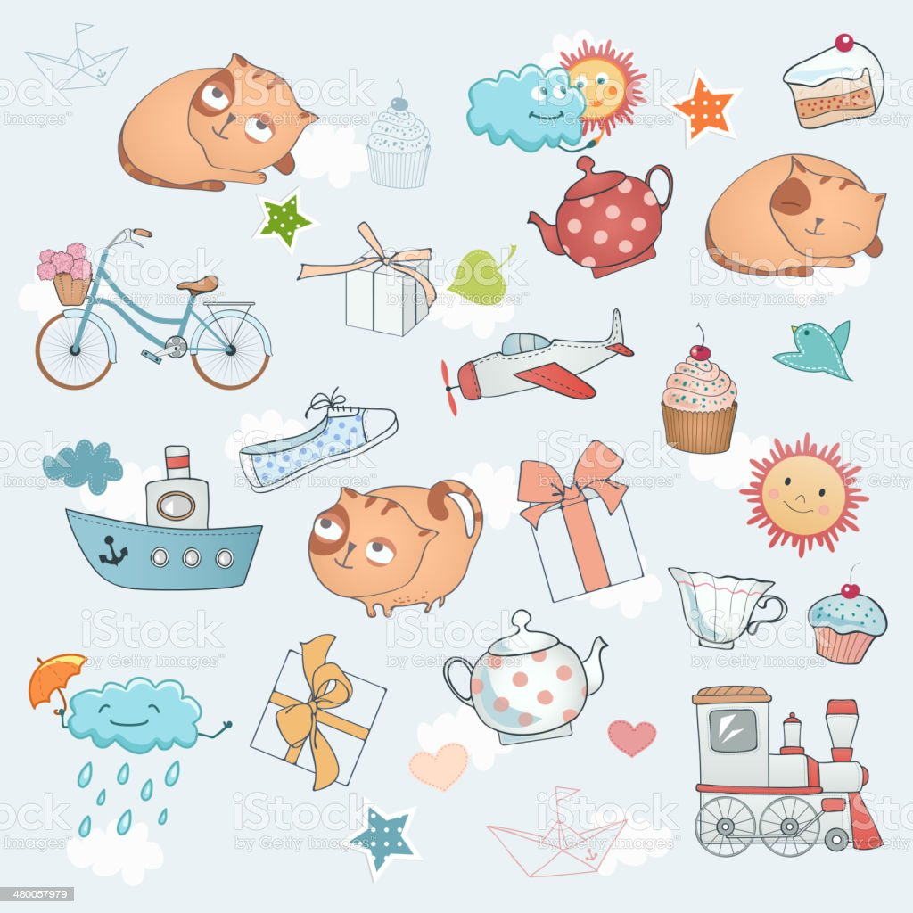 Funny holiday set. royalty-free stock vector art