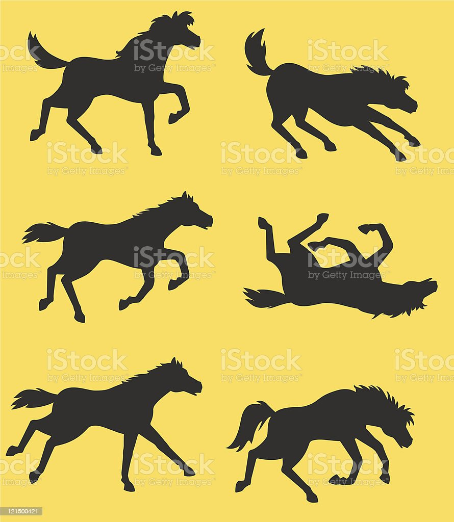 Funny horse silhouettes royalty-free stock vector art