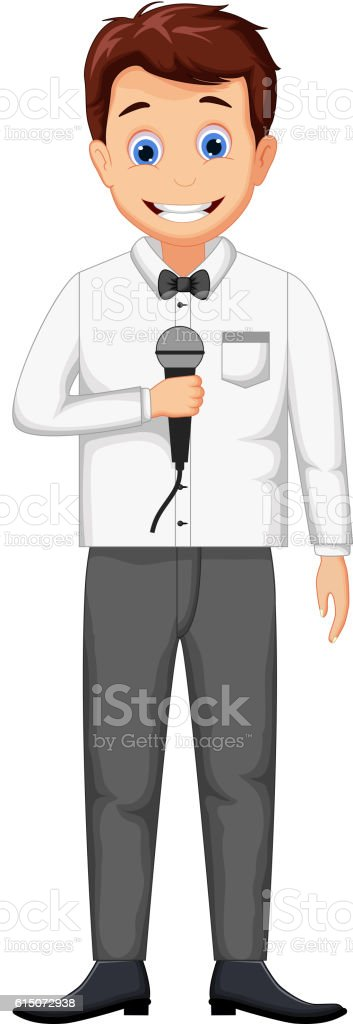 funny host cartoon holding a microphone vector art illustration