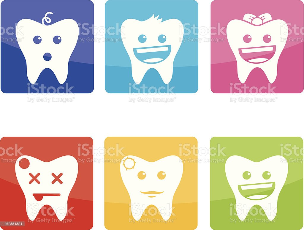 Funny icons of teeth for pediatric dentistry royalty-free stock vector art