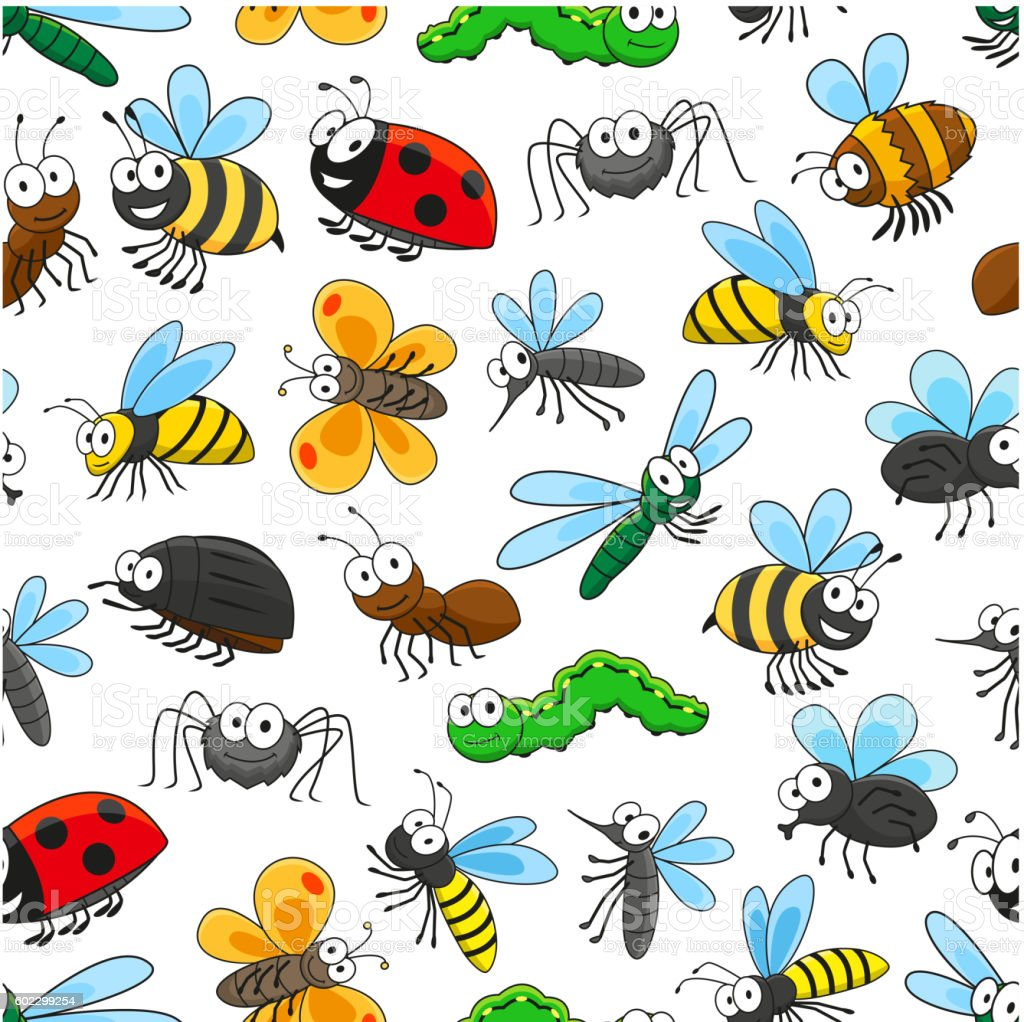 Funny insects cartoon characters seamless pattern vector art illustration