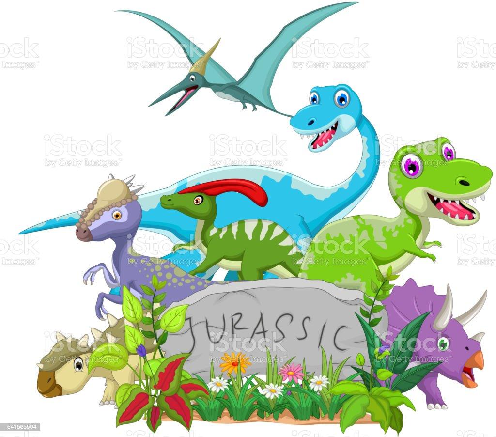 funny jurassic animal vector art illustration