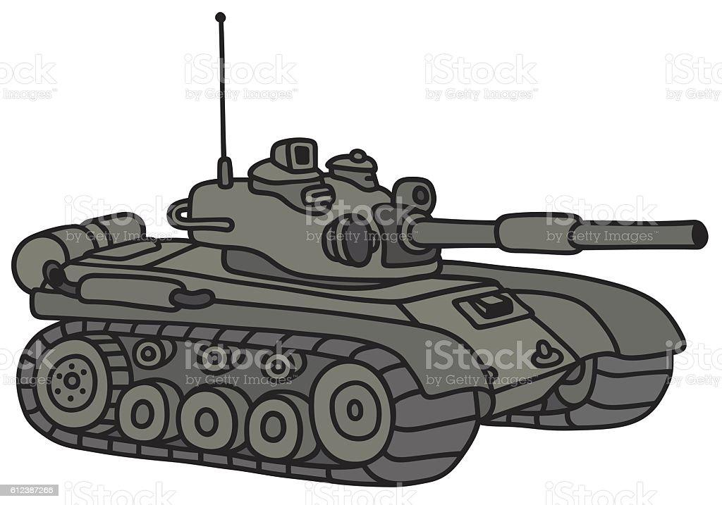 Funny khaki tank vector art illustration