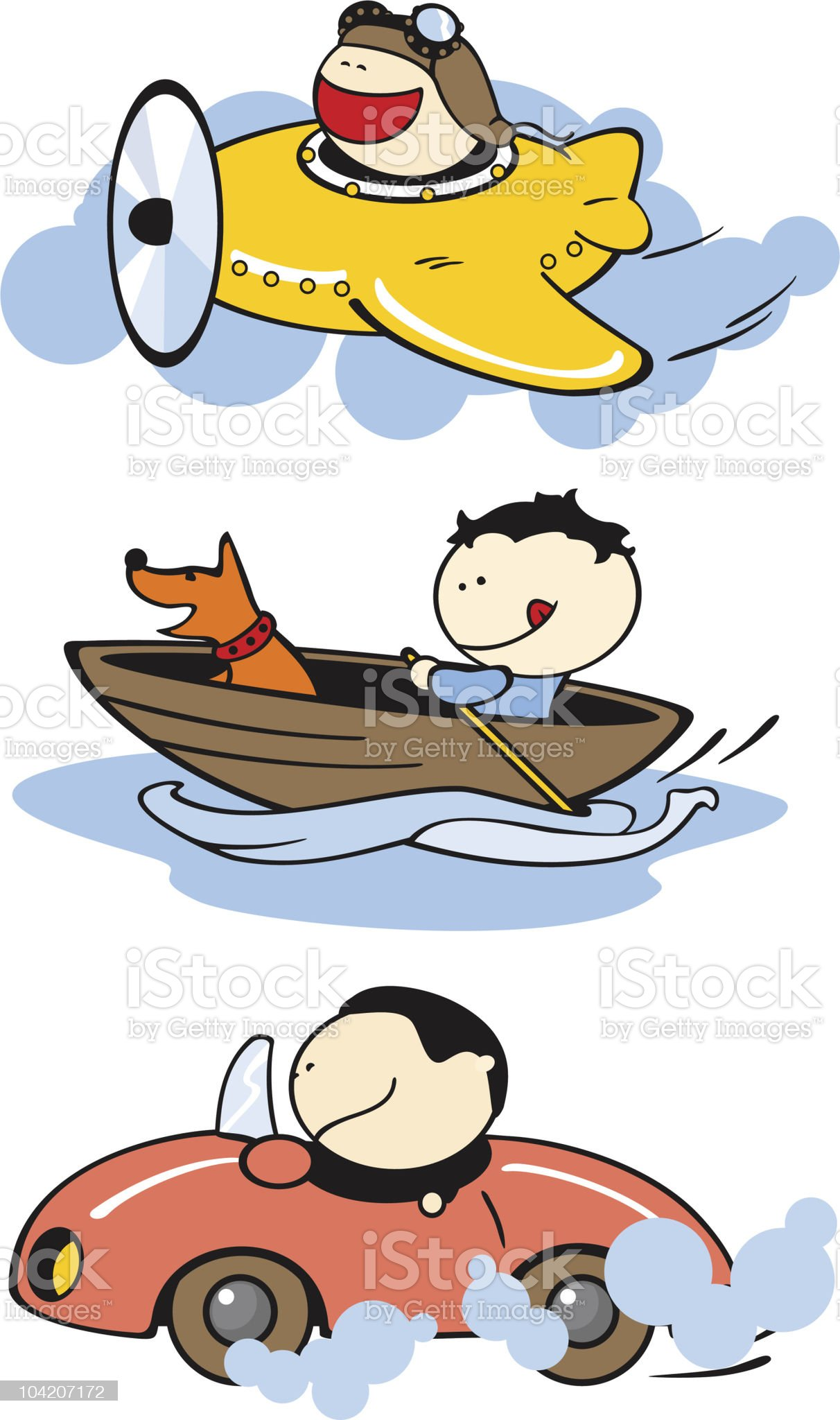 Funny kids and transport royalty-free stock vector art
