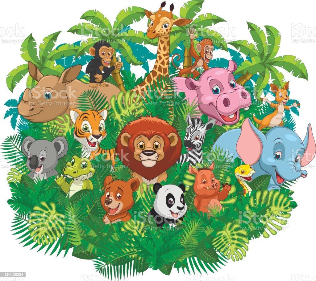 Funny kids animals vector art illustration