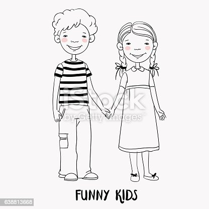 Funny Kids Boy And Girl Holding Hands Children Becoming