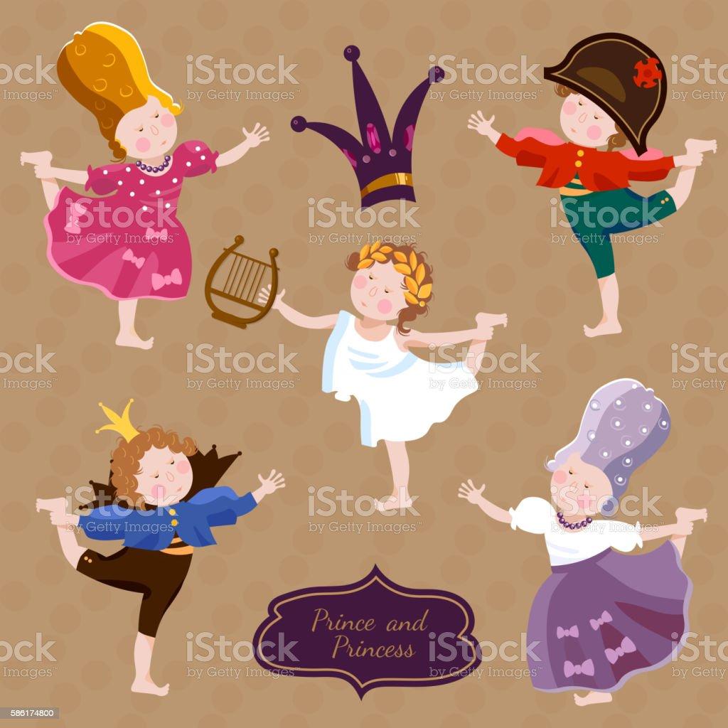 Funny kids playing prince and princess vector art illustration