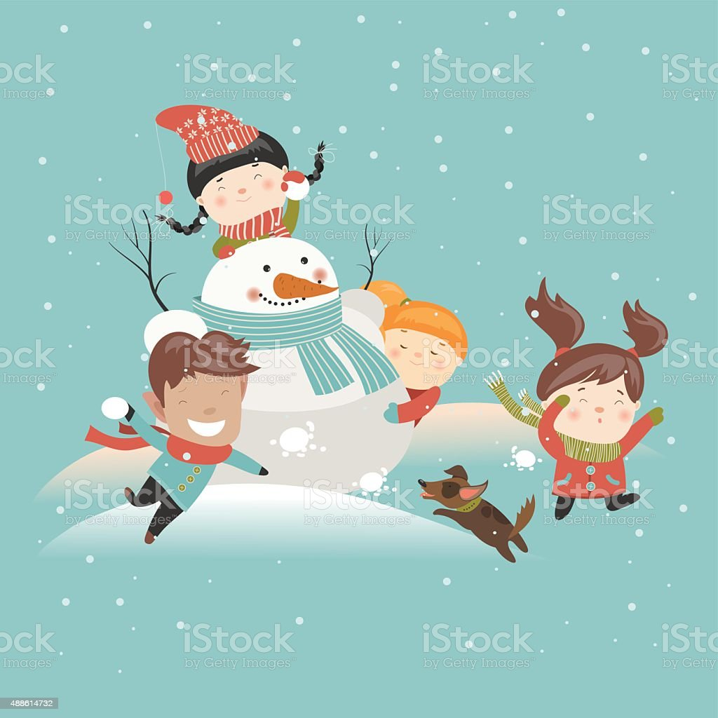Funny kids playing snowball fight vector art illustration