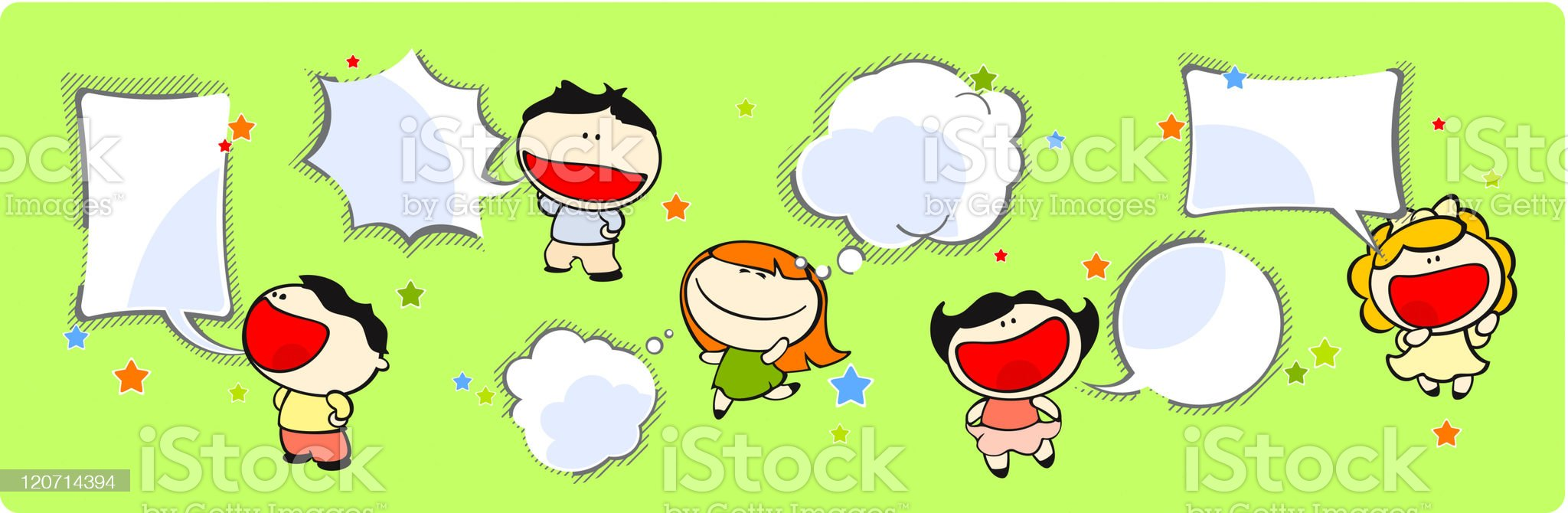 Funny kids - speech and thinking bubbles royalty-free stock vector art