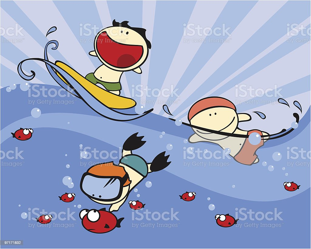 Funny kids - swimming royalty-free stock vector art