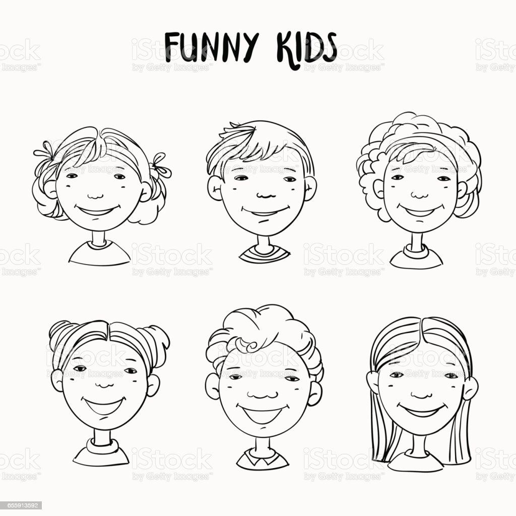 Funny kids. Vector cute boys and girls collection vector art illustration