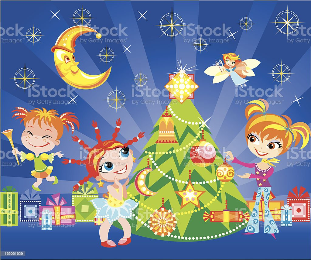 Funny kids with Christmas tree royalty-free stock vector art