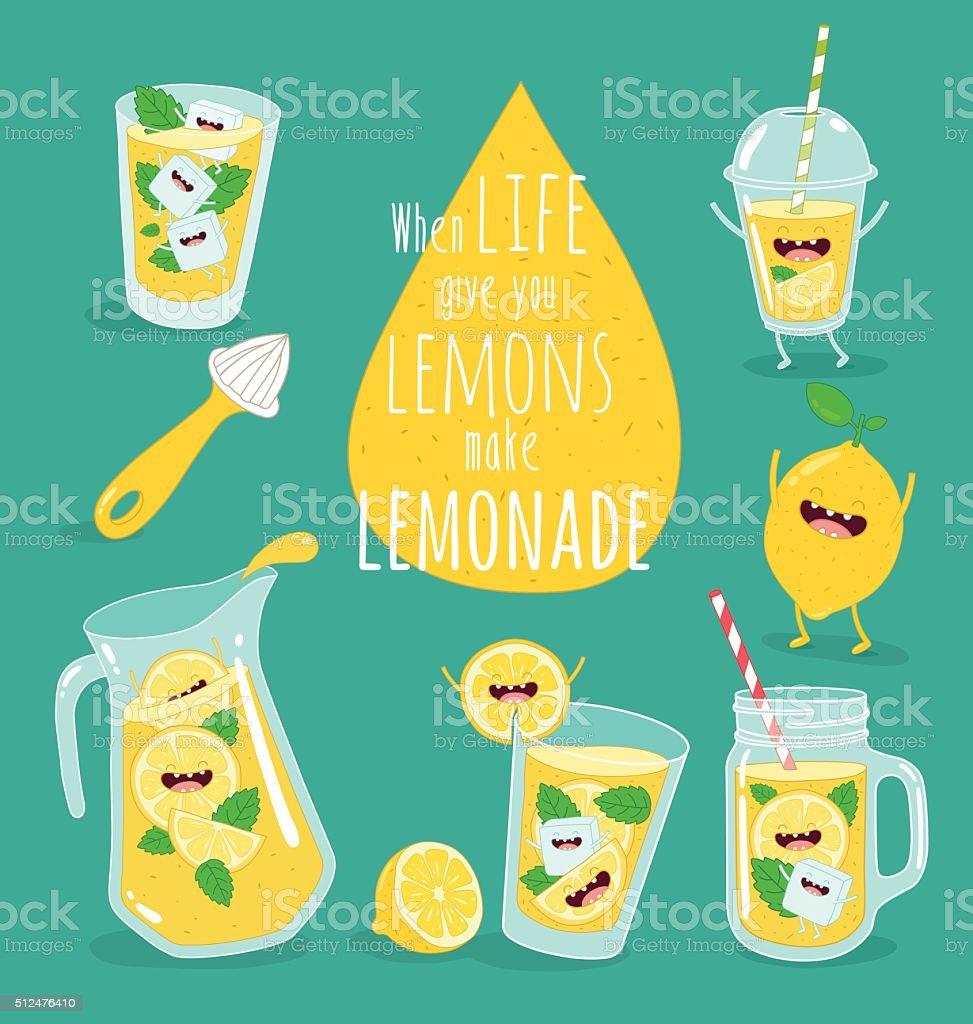 Funny lemonade vector art illustration