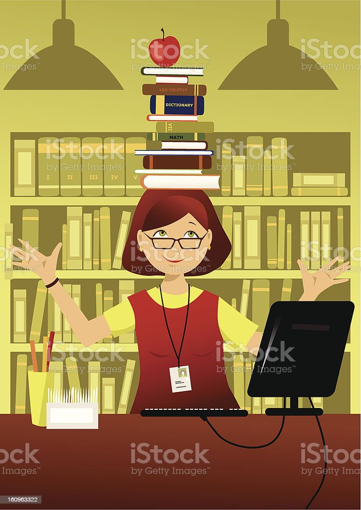 Funny librarian royalty-free stock vector art