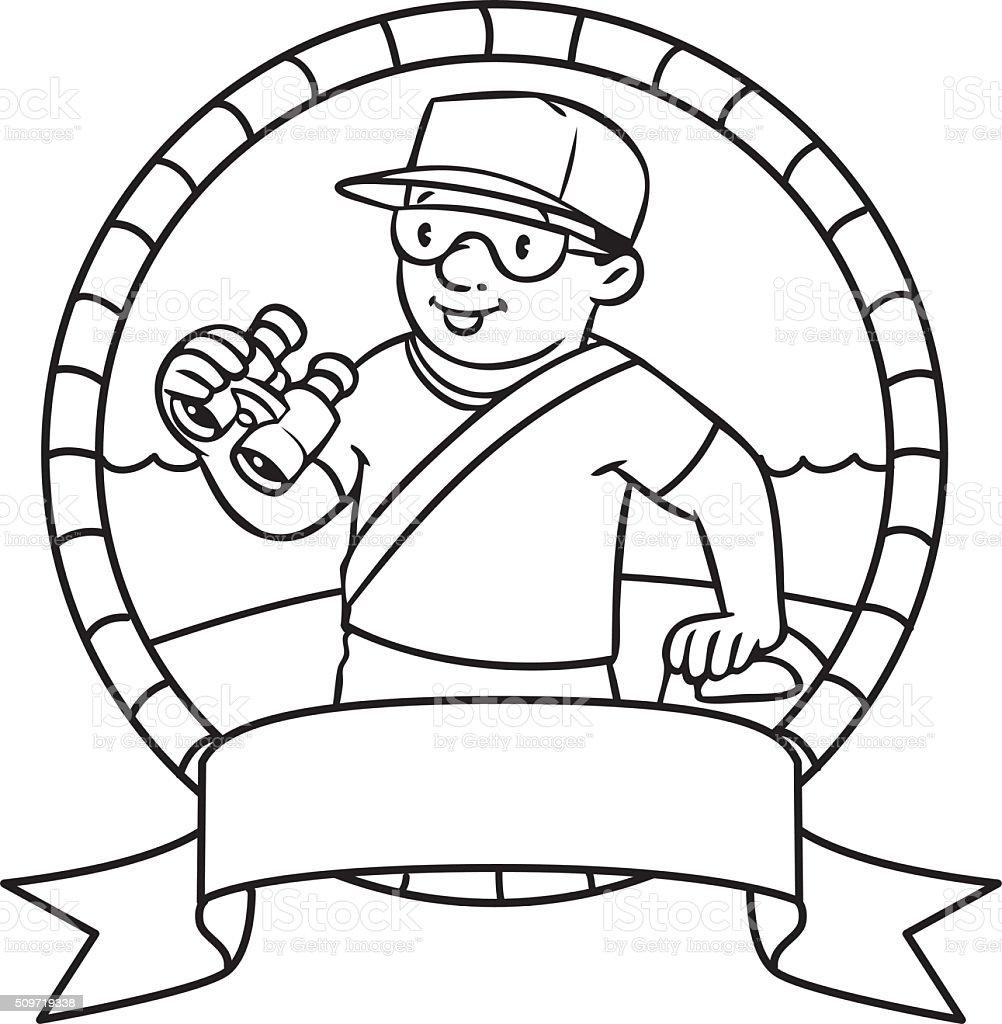 funny lifeguard coloring book emblem vector art illustration