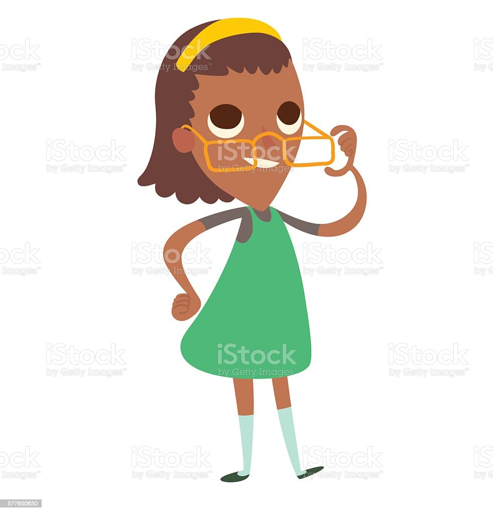 Funny little black girl in glasses with brown wavy hair vector art illustration