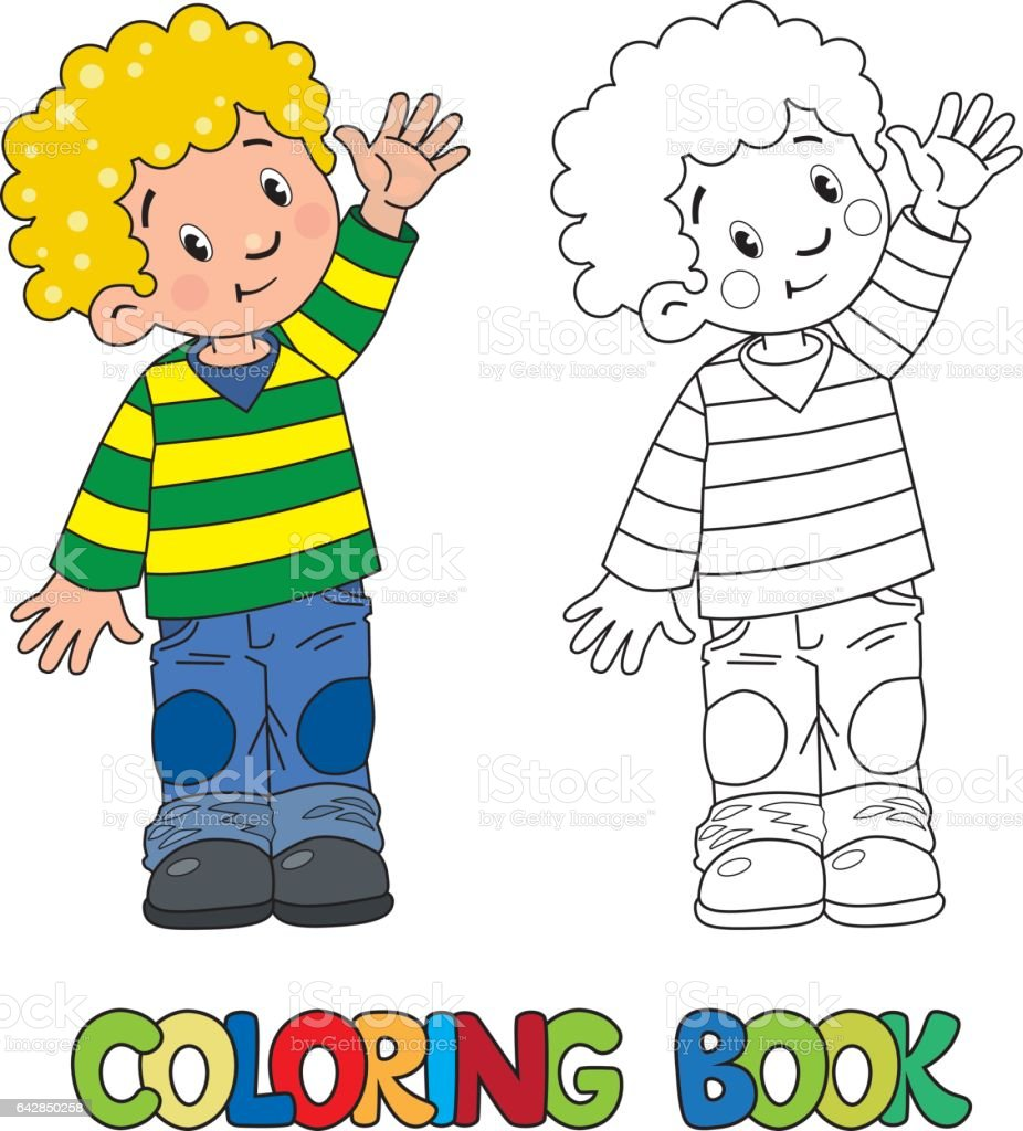 Funny little boy coloring book vector art illustration