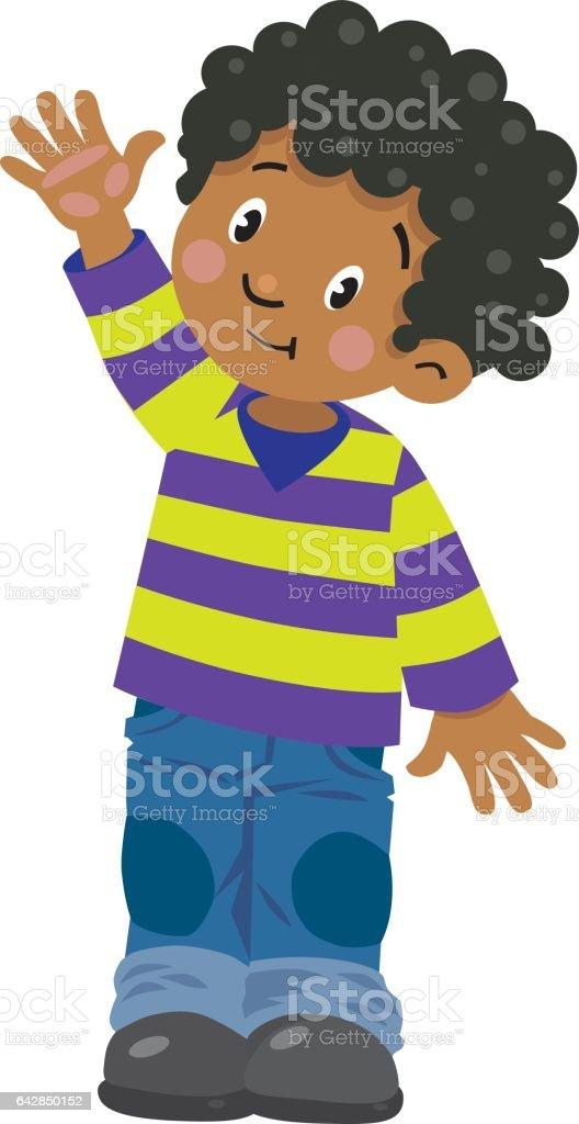 Funny little boy vector art illustration