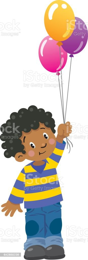 Funny little boy with balloons vector art illustration