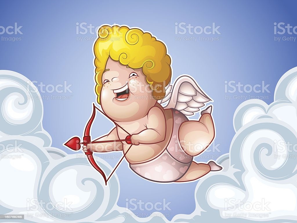 Funny little cupid in the clouds royalty-free stock vector art