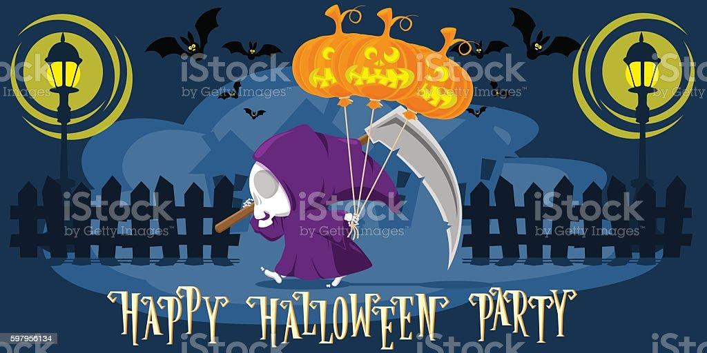 Funny little death with a large scythe. Cartoon style. Vector vector art illustration
