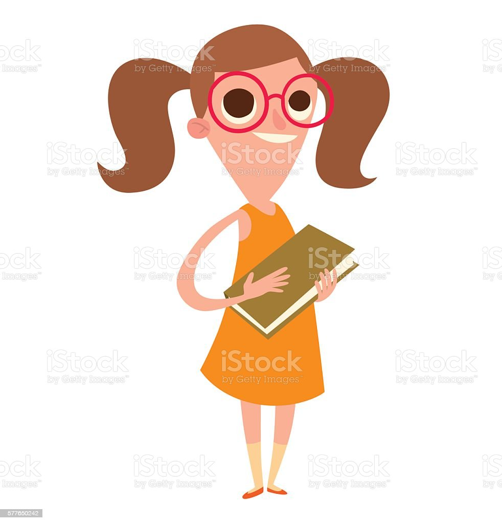 Funny little girl in glasses with brown hair vector art illustration