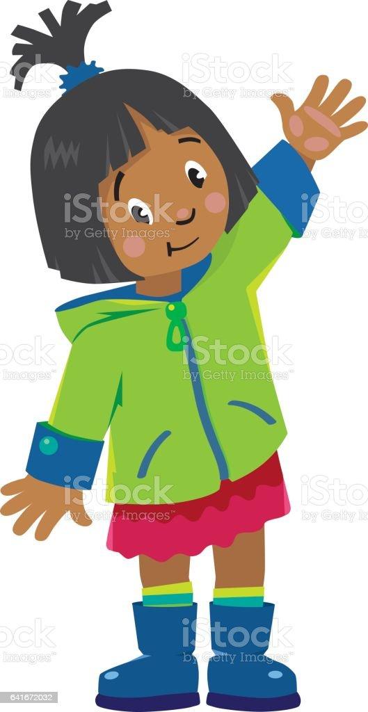 Funny little girl waving by hand vector art illustration