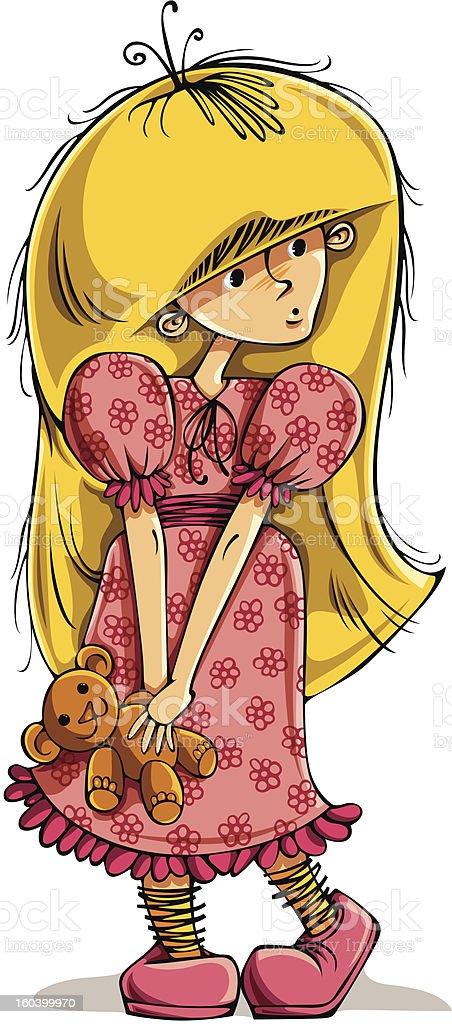 Funny little girl with teddy bear. royalty-free stock vector art