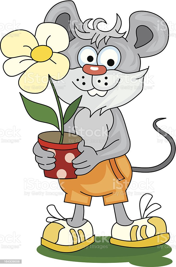 Funny little mouse with flower royalty-free stock vector art
