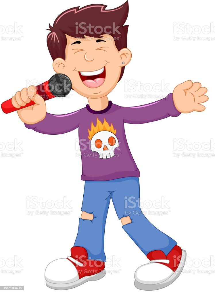 funny man cartoon singing vector art illustration