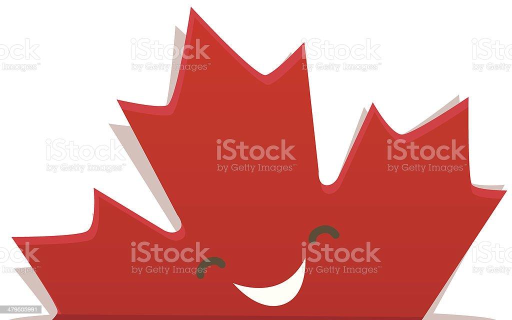 Funny maple leaf of Canadian flag vector art illustration