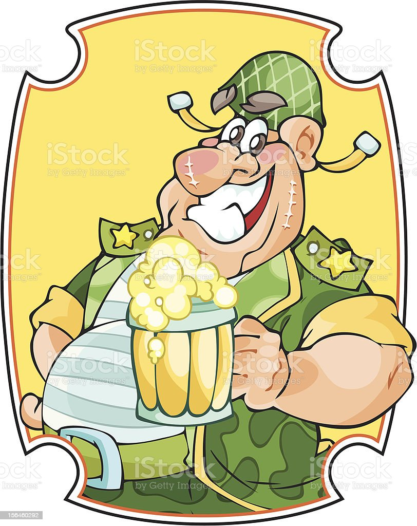 Funny militant with beer royalty-free stock vector art