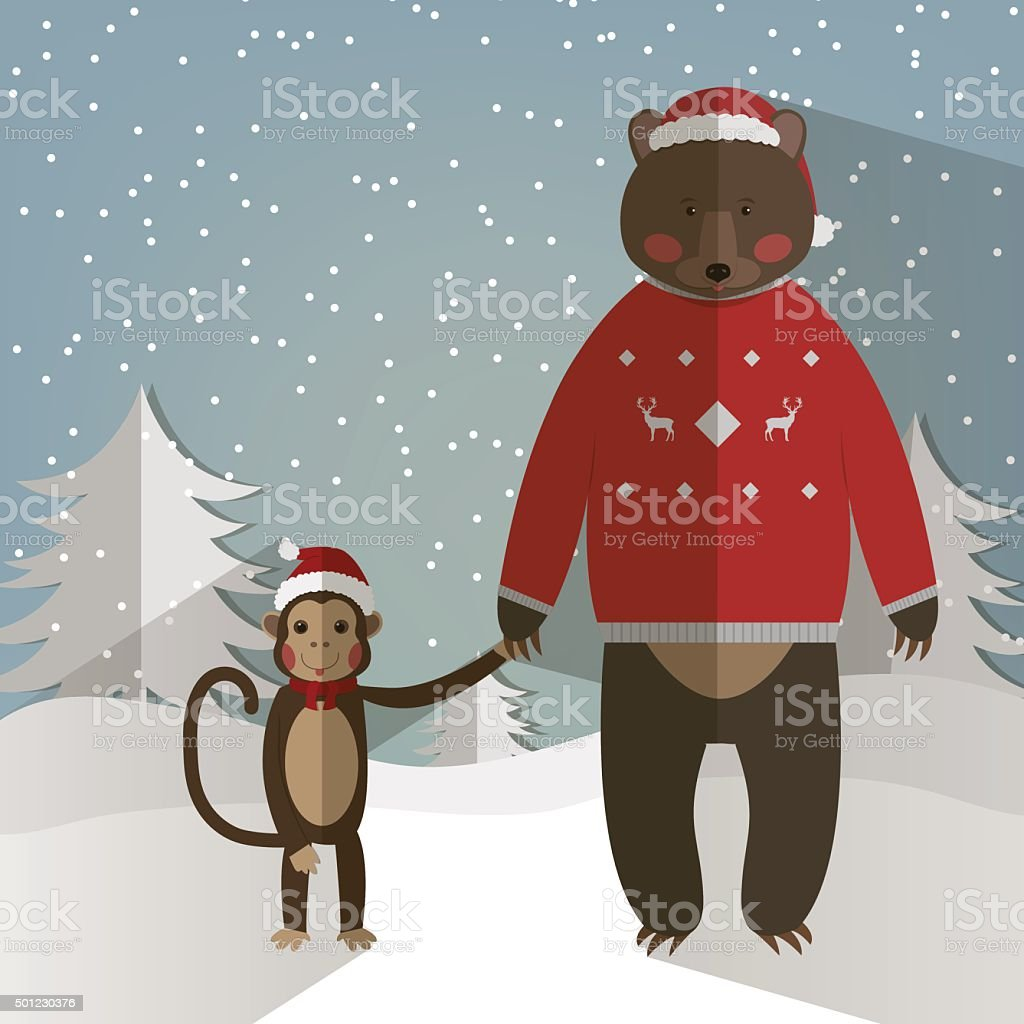funny Monkey and forest Bear. Chinese Zodiac. royalty-free stock vector art