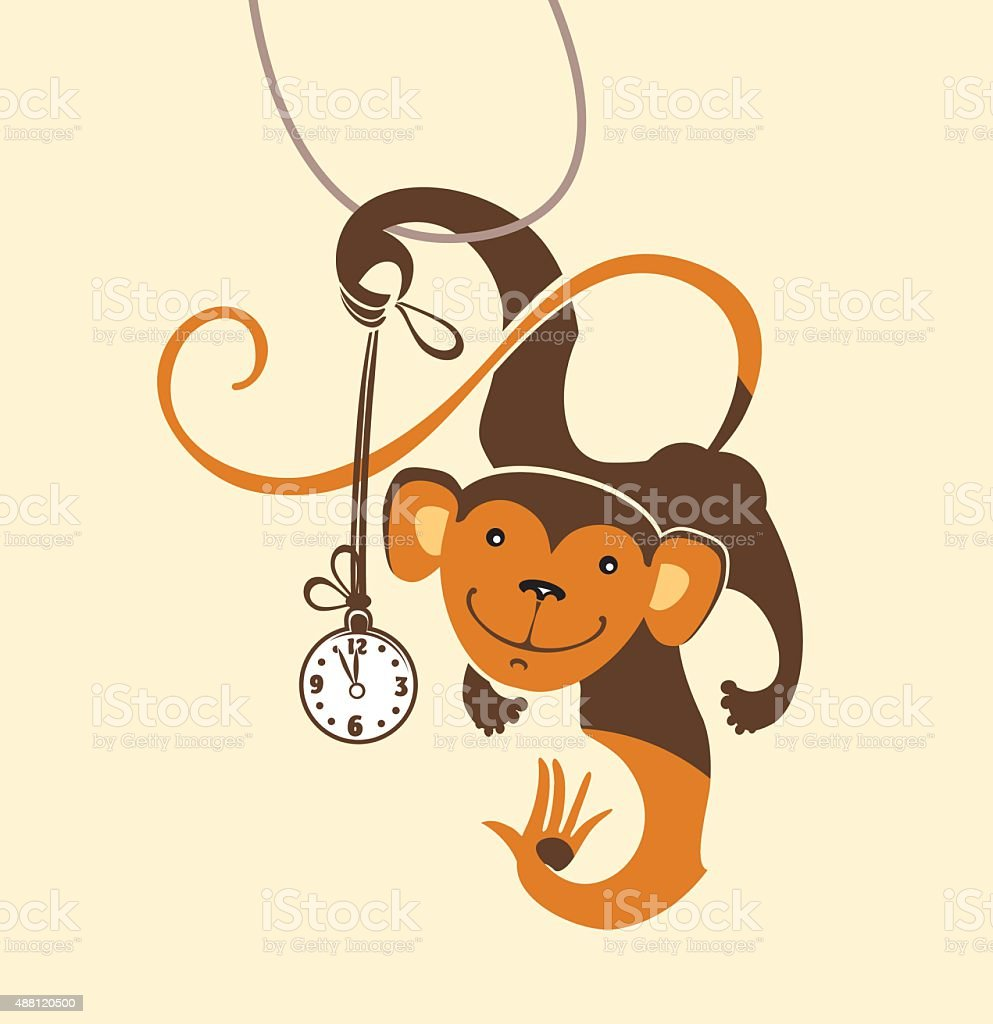 Funny monkey dabbles with the clock. vector art illustration