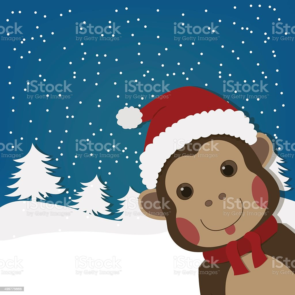 funny monkey, new year and  christmas greeting card, royalty-free stock vector art