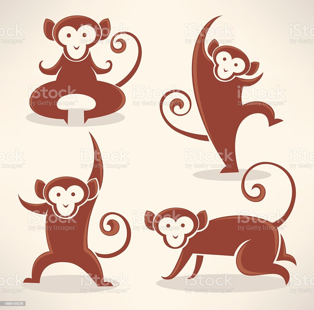 funny monkey silhouettes, vector collection of symbols of 2016 vector art illustration
